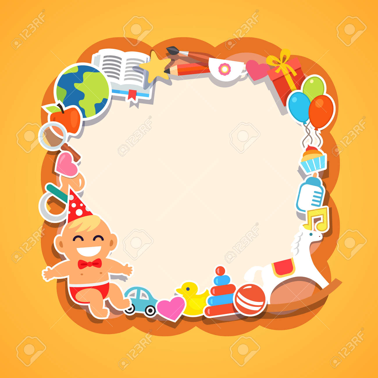 cartoon kids frame baby shower children party birthday or holiday event infant