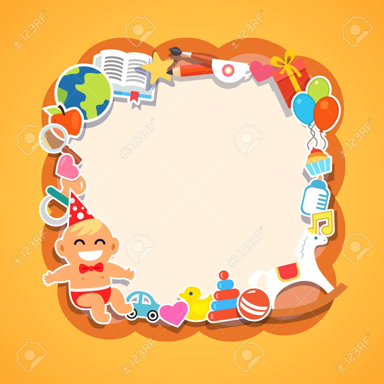 Cartoon Kids Frame Baby Shower Children Party Birthday Or
