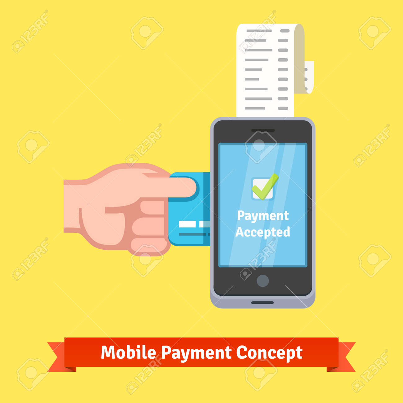 mobile payment concept man hand inserting credit card to a phone