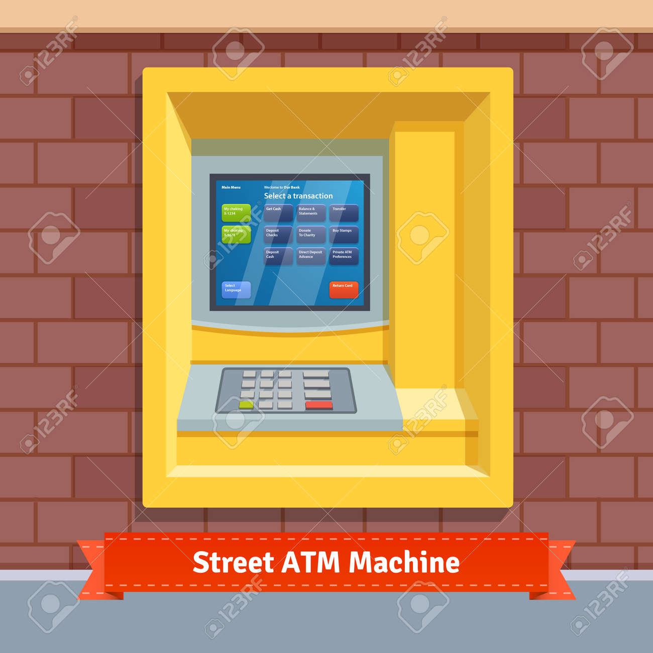 Brick Wall Mounted Outdoor ATM Machine  Flat Style Vector