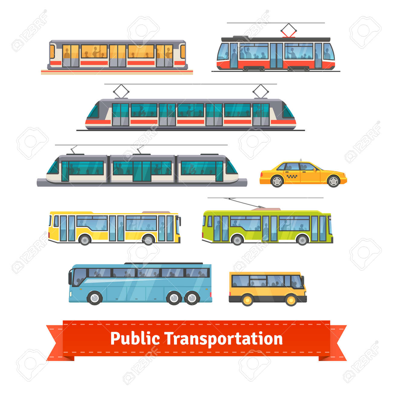City and intercity transportation vehicles icon set. Trains, subway, buses and taxi. Flat style illustration or icon. EPS 10 vector. - 51018315