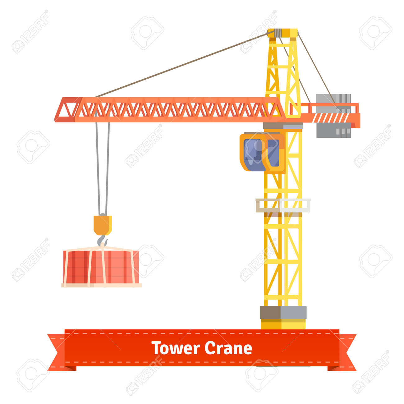 tower crane lifting building materials on the hook flat style