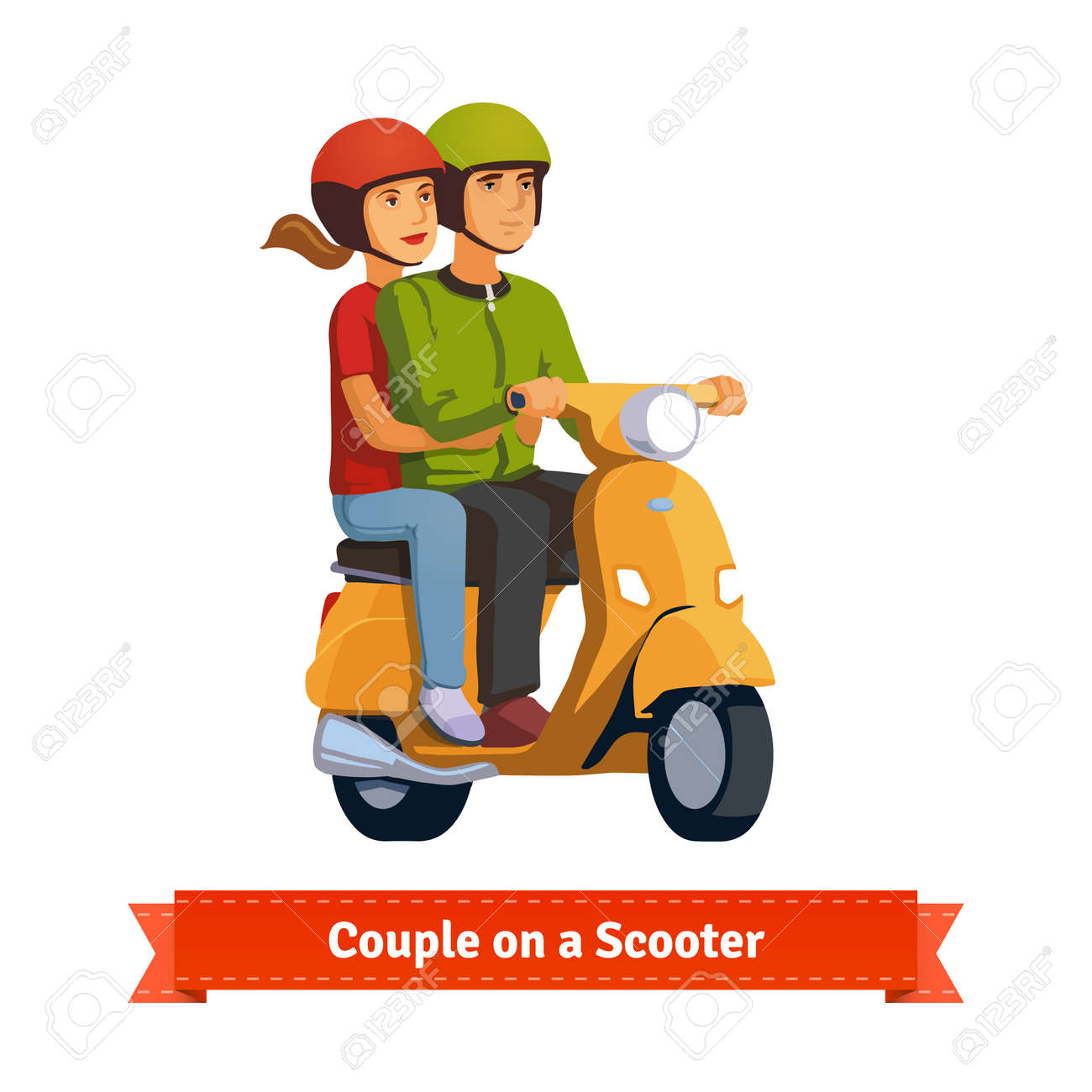 Couple on a scooter. Happy riding together. Flat style illustration. EPS 10 vector. - 51136743