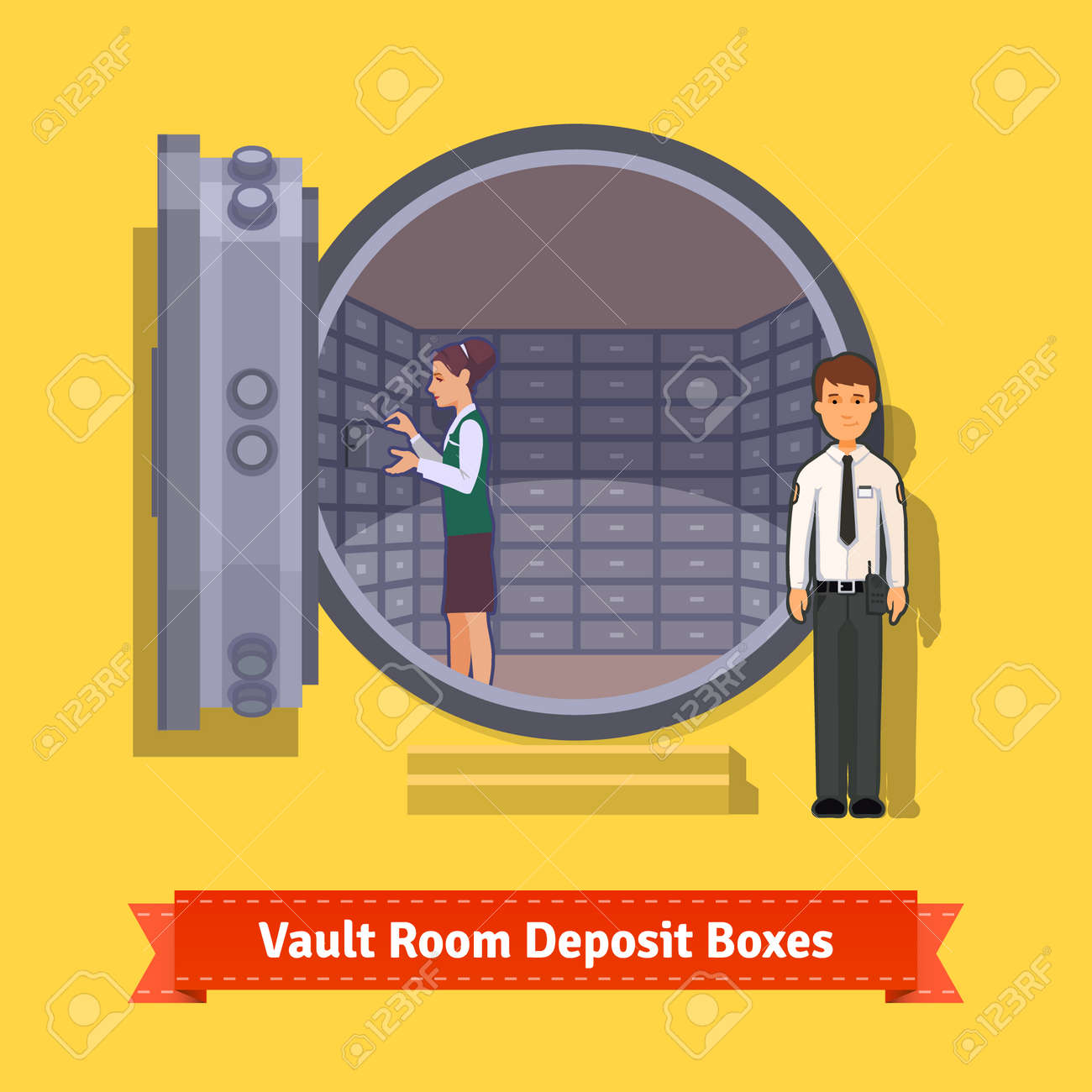 Bank vault room with a safe deposit boxes, clerk and guard. Flat style illustration. EPS 10 vector. - 51137215