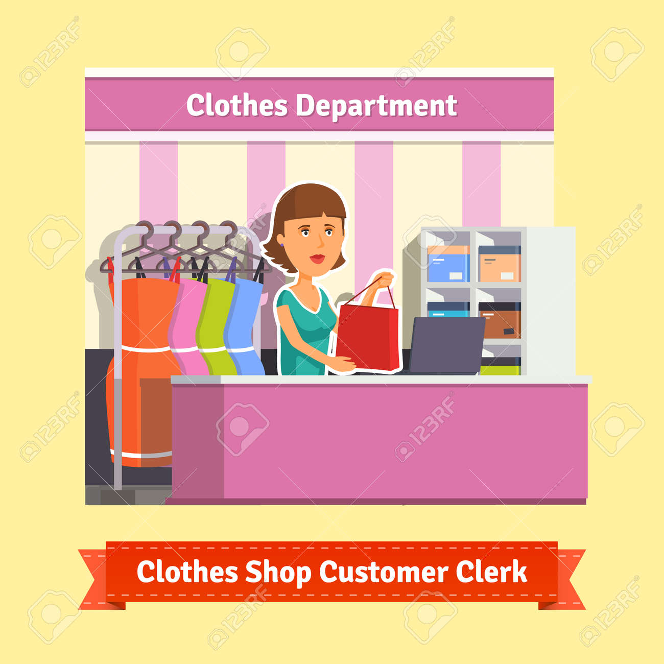 s clerk working customers at the clothes store or s clerk working customers at the clothes store or department pretty w shop assistant