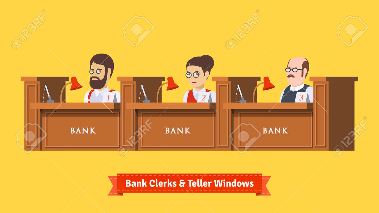 1 215 bank cashier stock illustrations cliparts and royalty bank cashier three bank clerks at work teller windows working professionals flat