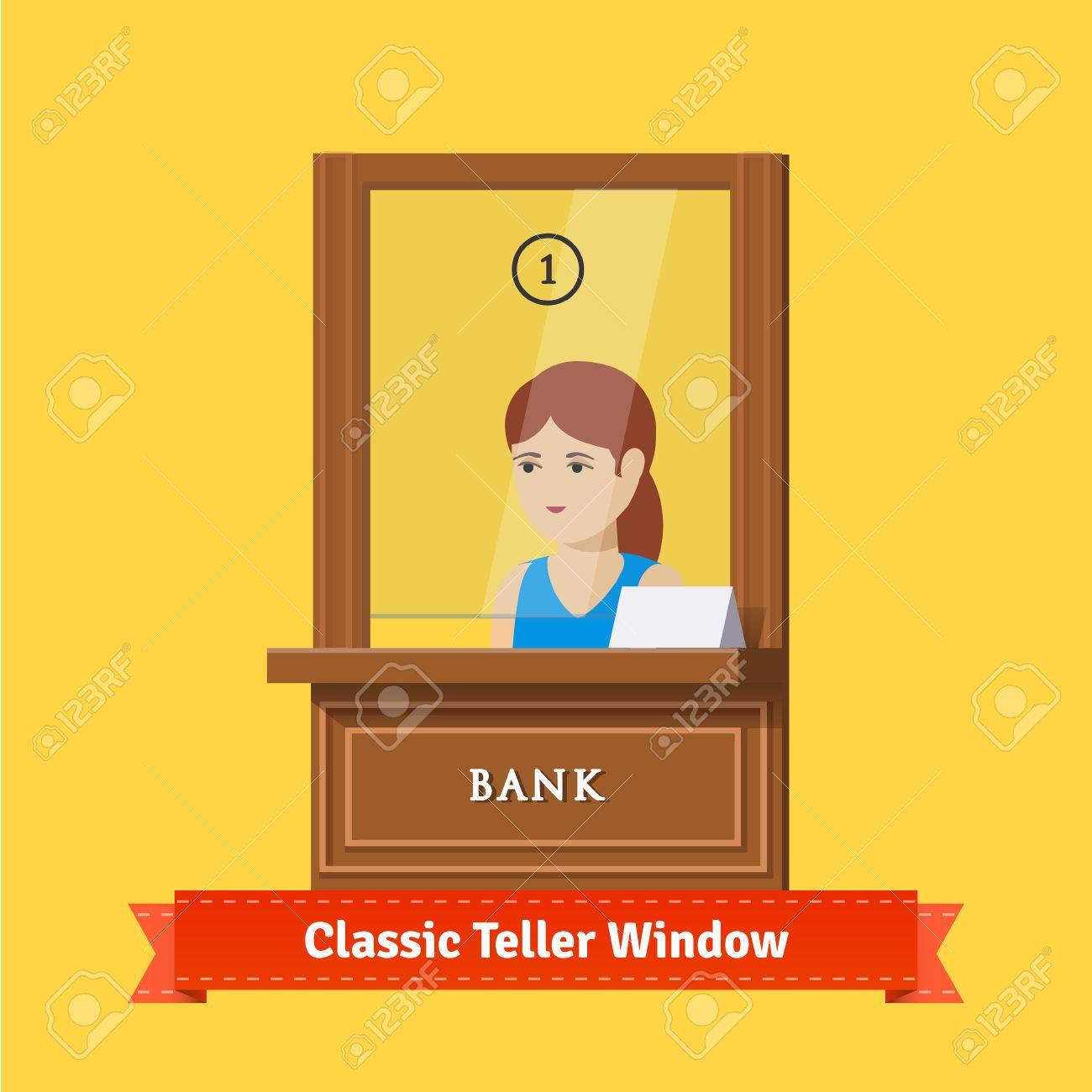 classic bank teller window a working clerk young w classic bank teller window a working clerk young w cashier flat illustration