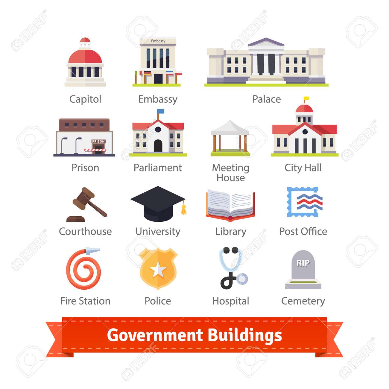 Regierungsgebäude Bunt Flach Icon Set. Für Den Einsatz Mit Karten ...