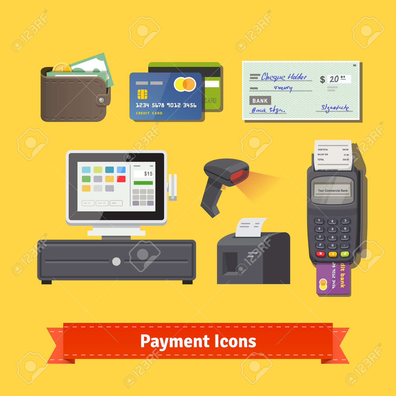 Payment flat icon set all for business payments pos terminal all for business payments pos terminal with barcode scanner and reheart Images