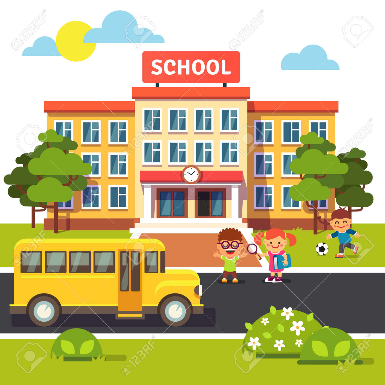 School building, bus and front yard with students children. Flat style vector illustration isolated on white background. - 53122104