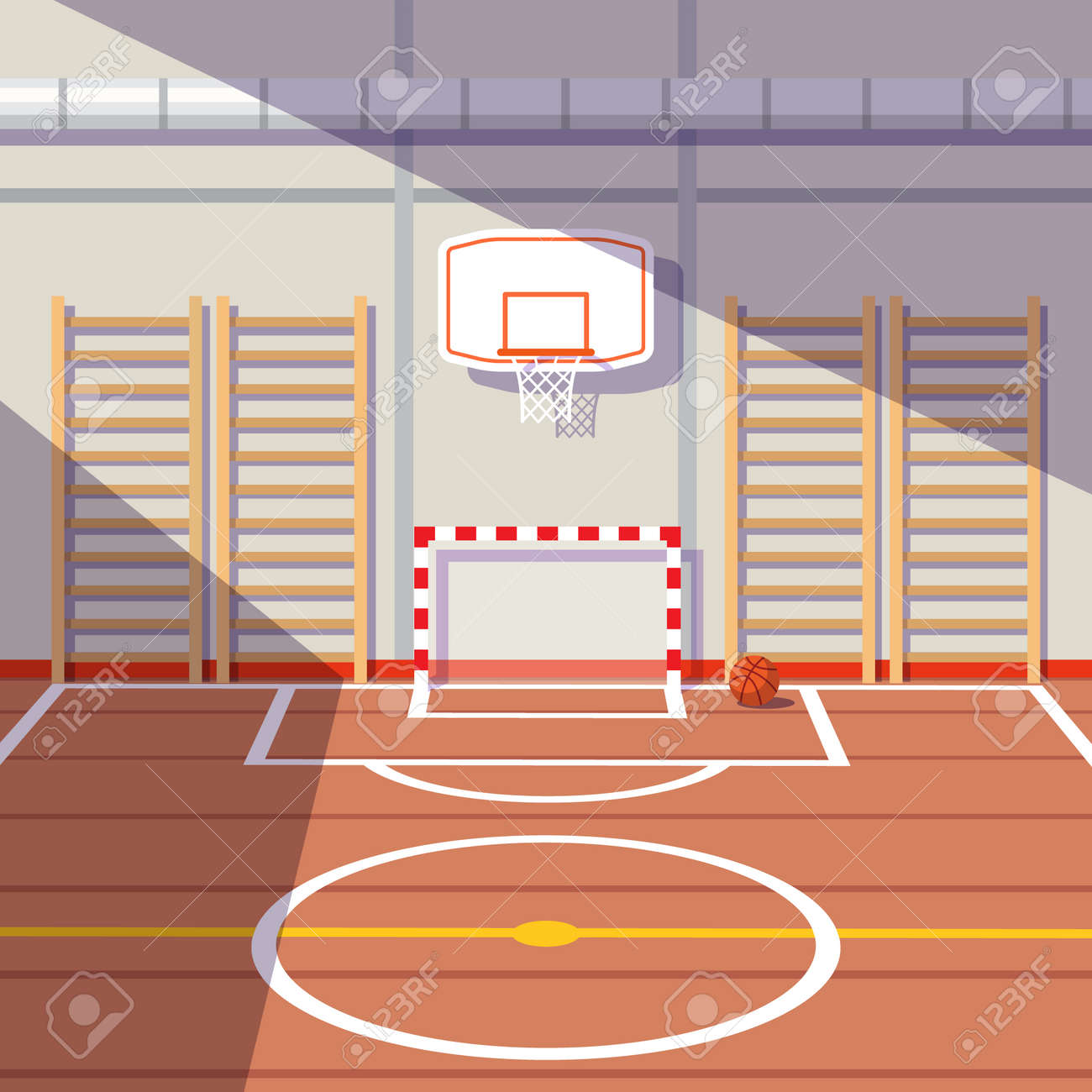 sun lit school or university gym hall with soccer goal and
