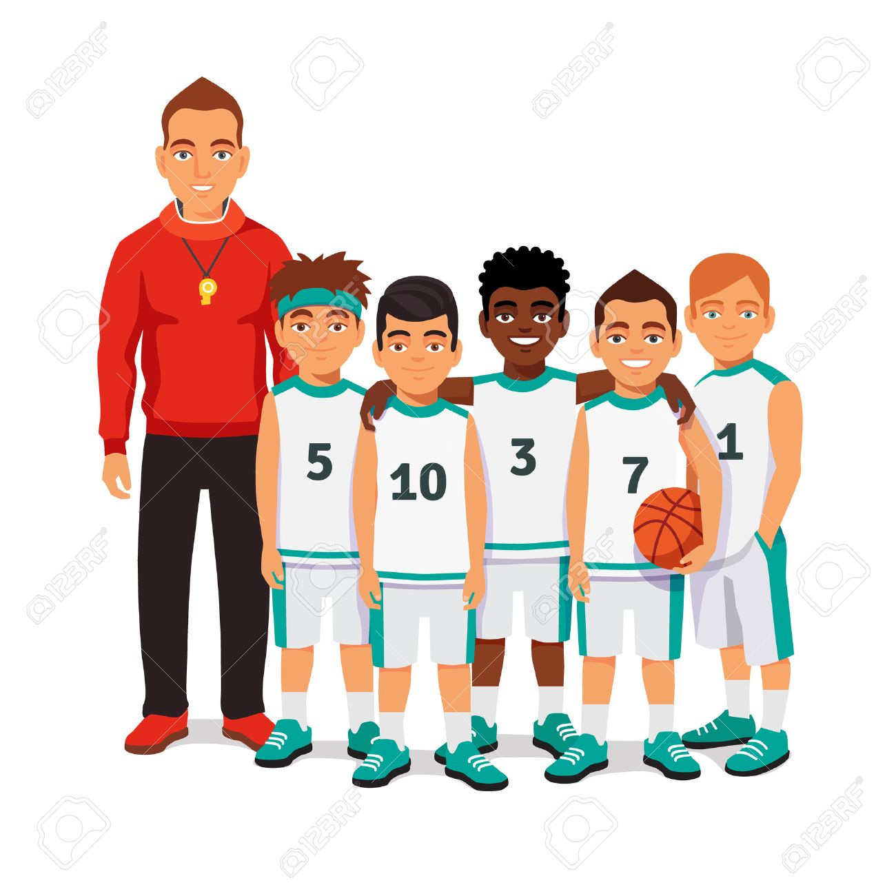School boys basketball team standing with their coach. Flat style vector illustration isolated on white background. - 53122281
