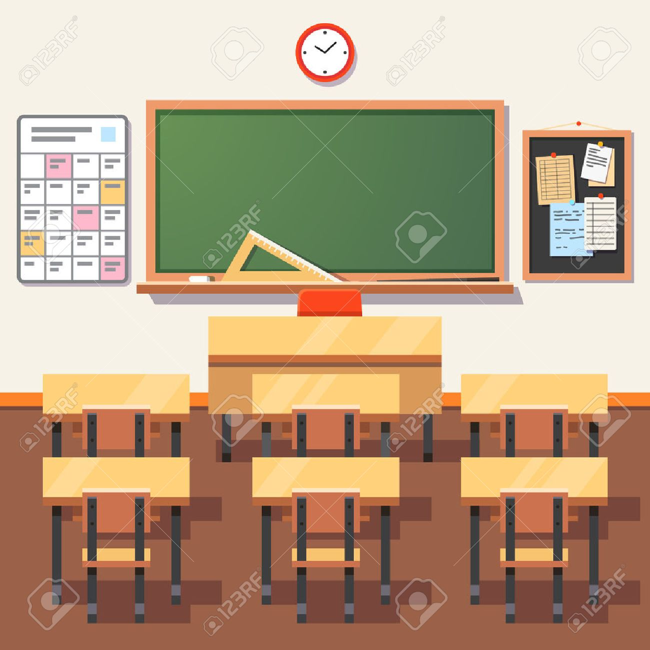 classroom table vector. empty school classroom with green chalkboard, teachers desk, pupils tables and chairs. flat table vector l