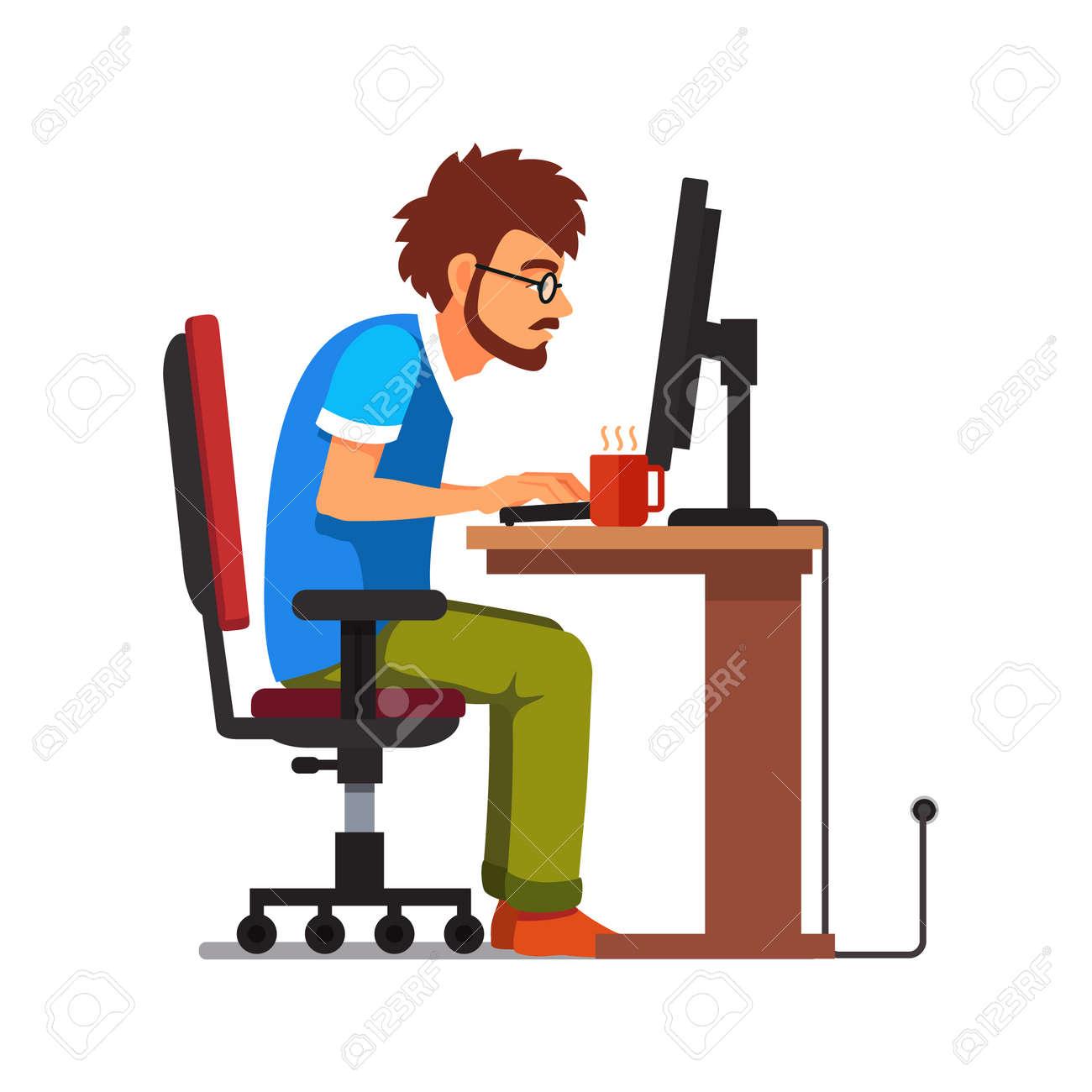 中年の仕事中毒オタク コンピューター机に座って。フラット スタイル
