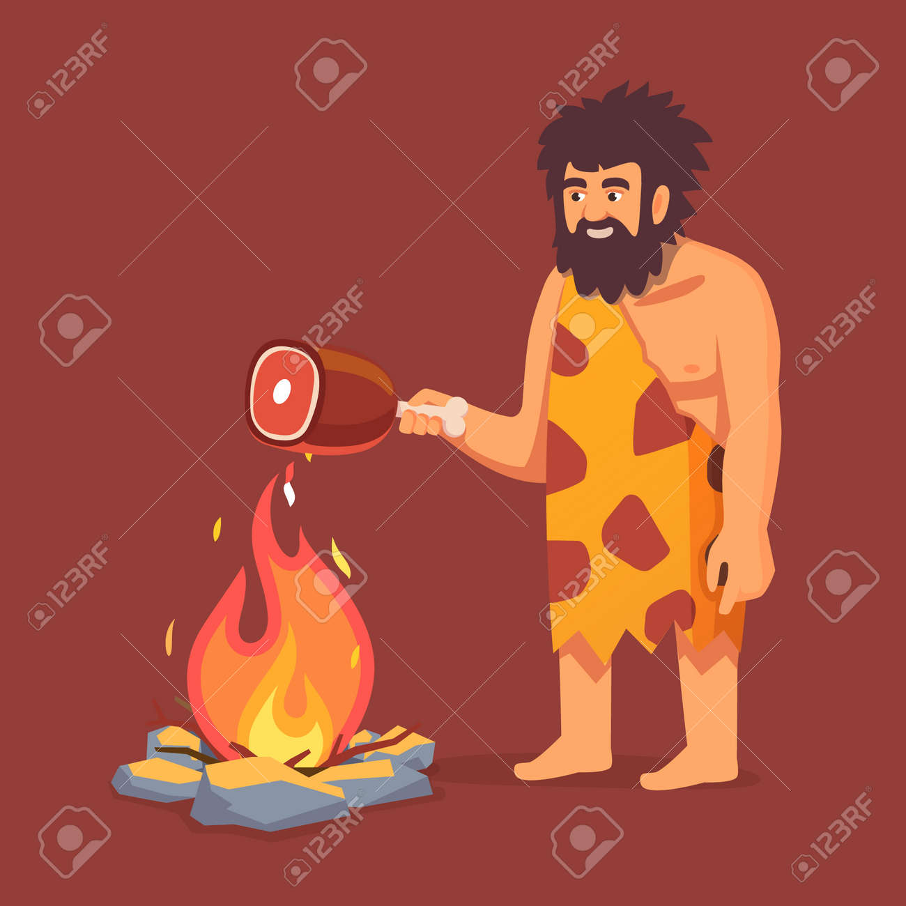 Stone age primitive man in animal hide pelt cooking meat food on fire. Flat style vector illustration isolated on white background. - 52904068