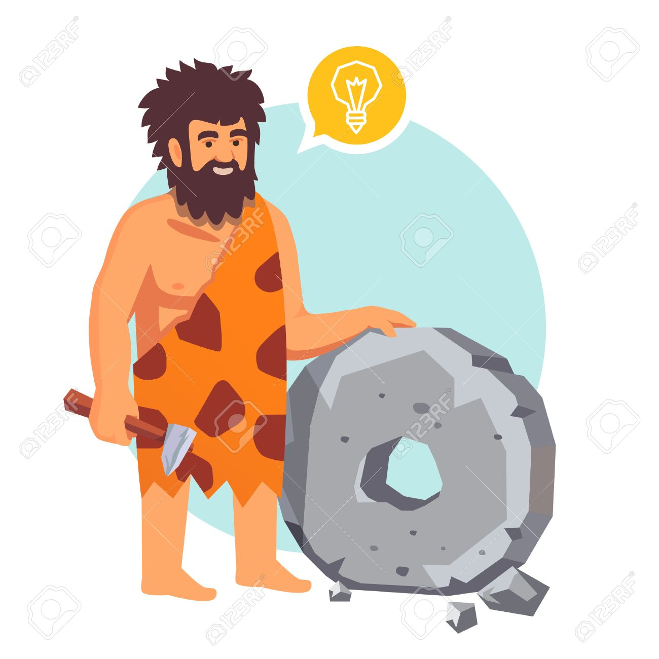 Stone age primitive man had an idea and invents a wheel. Flat style vector illustration isolated on white background. - 52904062