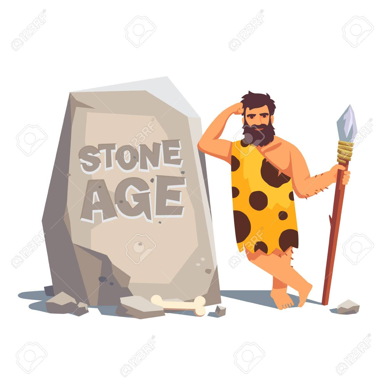 Stone age engraving on a big tablet rock with leaning caveman. Flat style vector illustration isolated on white background. - 52904076