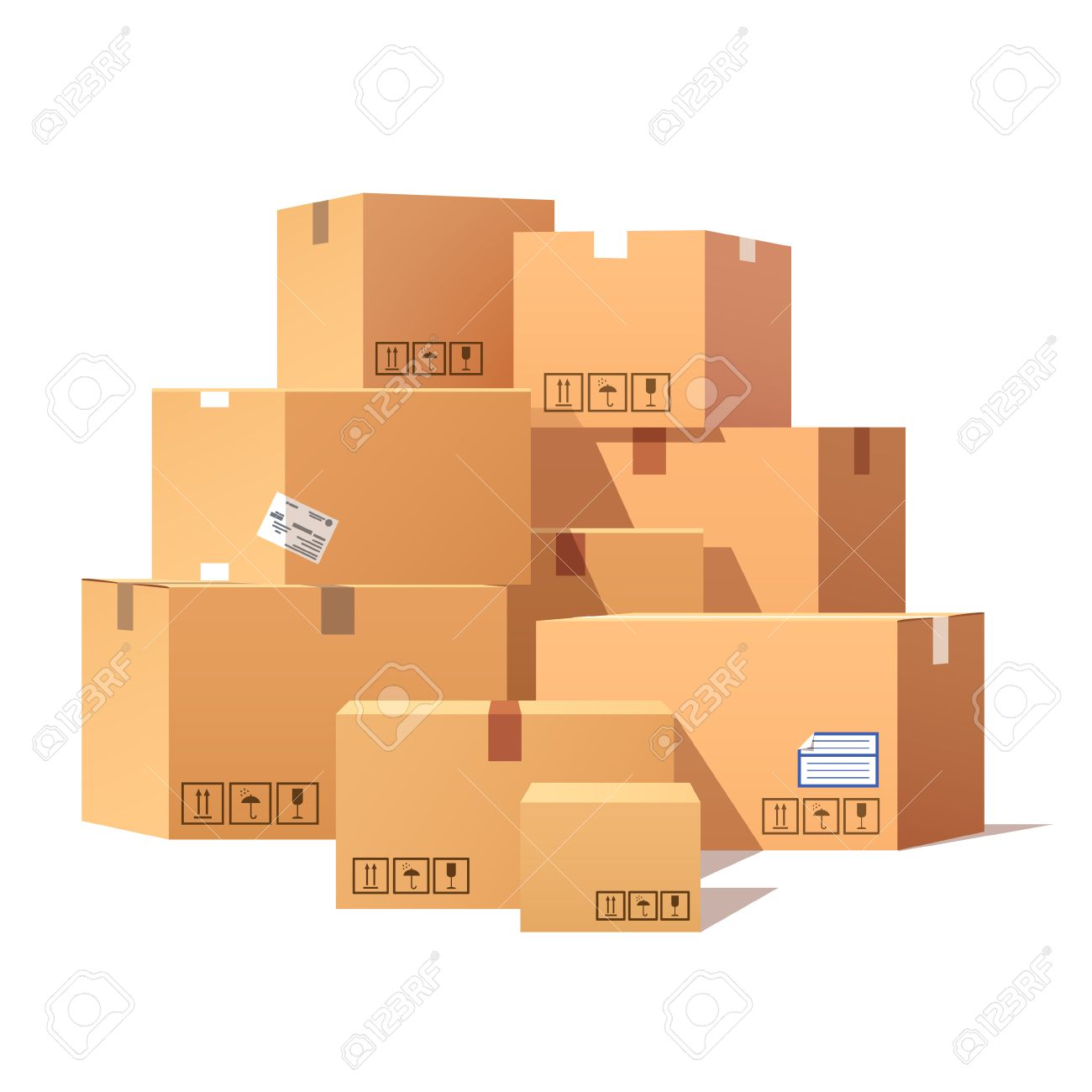 Pile of stacked sealed goods cardboard boxes. Flat style vector illustration isolated on white background. - 52901900