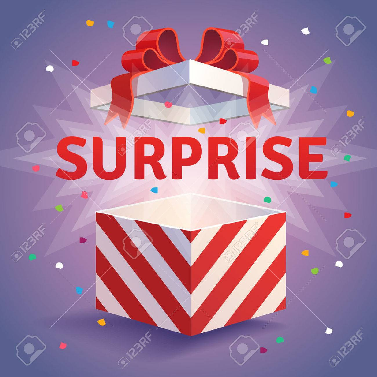 Opened surprise gift box. Red striped and bow tied confetti explosion. Flat style vector illustration isolated on violet background. - 52901903