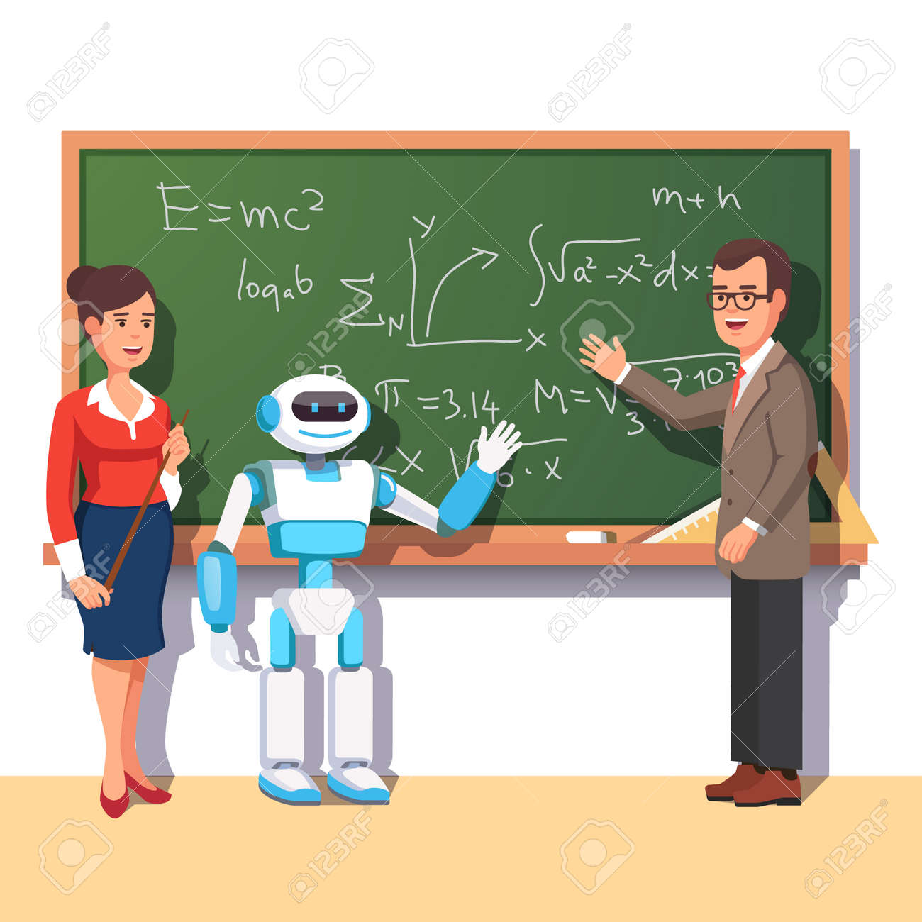 Modern robot helping teachers in the physics class at the chalkboard with formulas. Flat style vector illustration isolated on white background. - 52901864