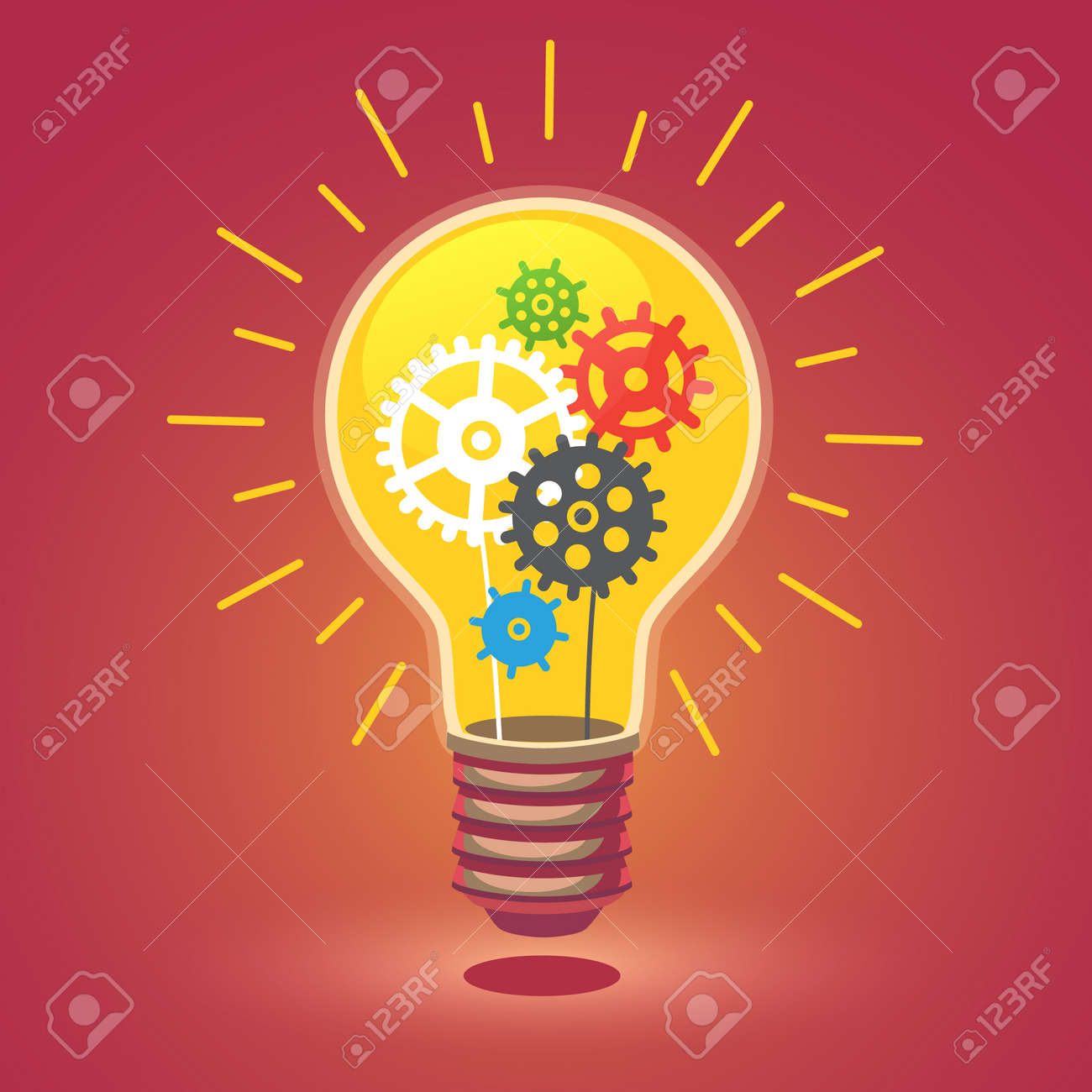 Shining bright idea light bulb with cogs. Flat style vector illustration isolated on white background. - 52901807