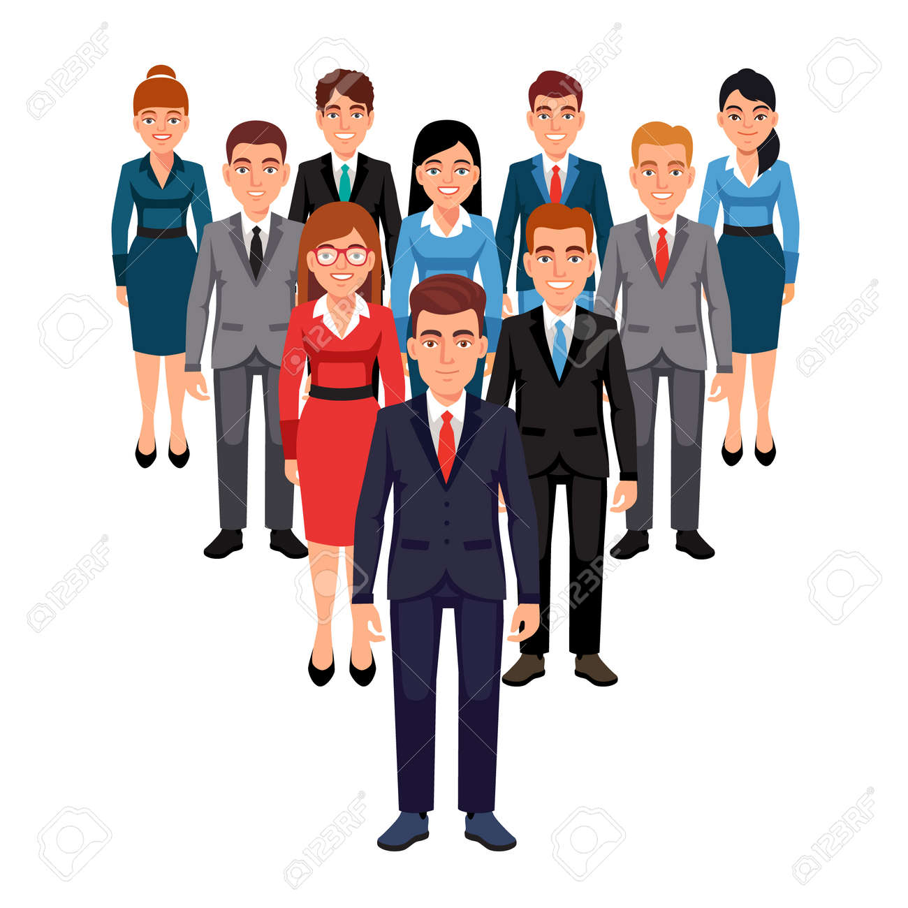 Executives team standing in form of triangle pyramid behind their leader. Leadership concept. Flat style vector illustration isolated on white background. - 52901819