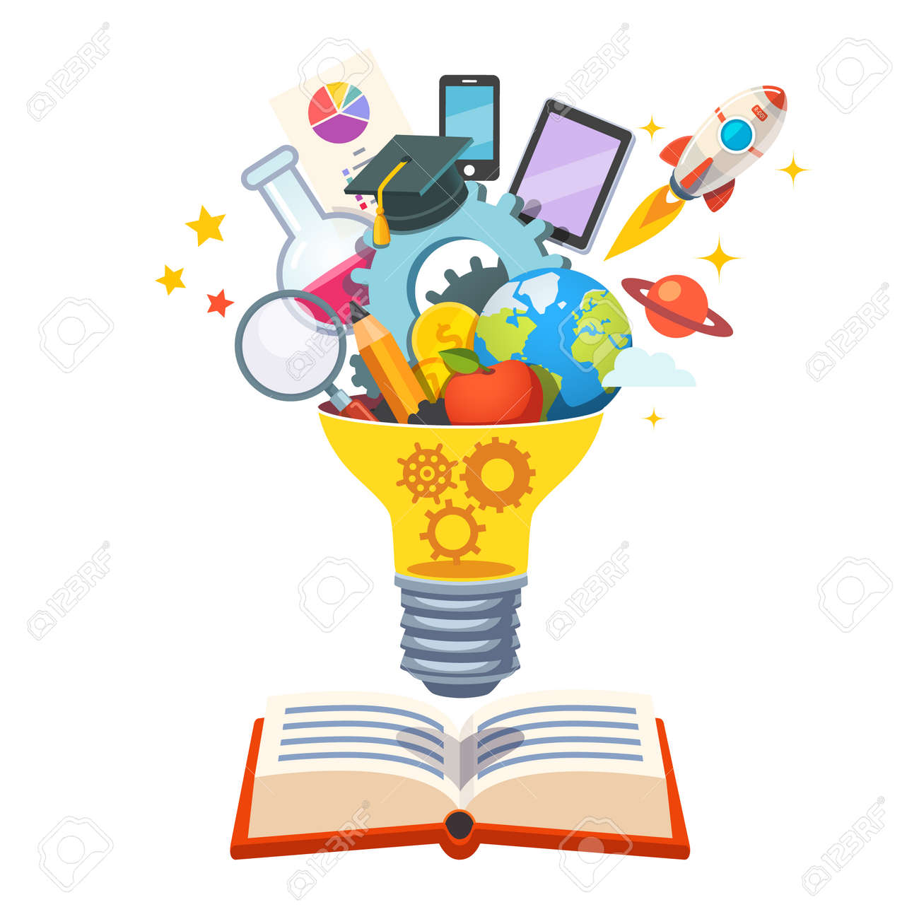Light bulb with gears inside floating over big book bursting with new ideas. Education concept. Flat style vector illustration isolated on white background. Stock Vector - 52901822