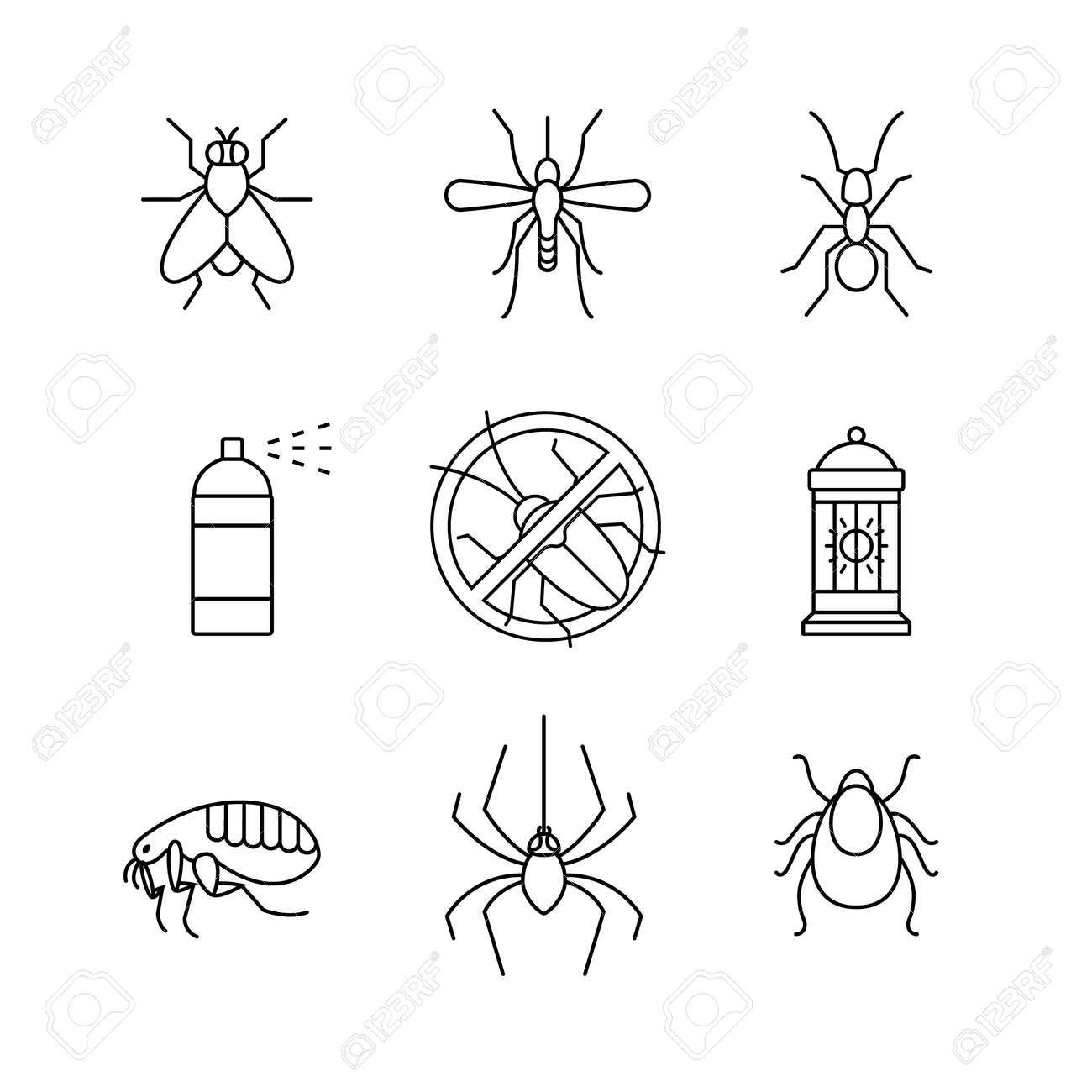 Insects control, anti pest emblem, insecticide, thin line art icons set. Modern black symbols isolated on white for infographics or web use. - 52937871