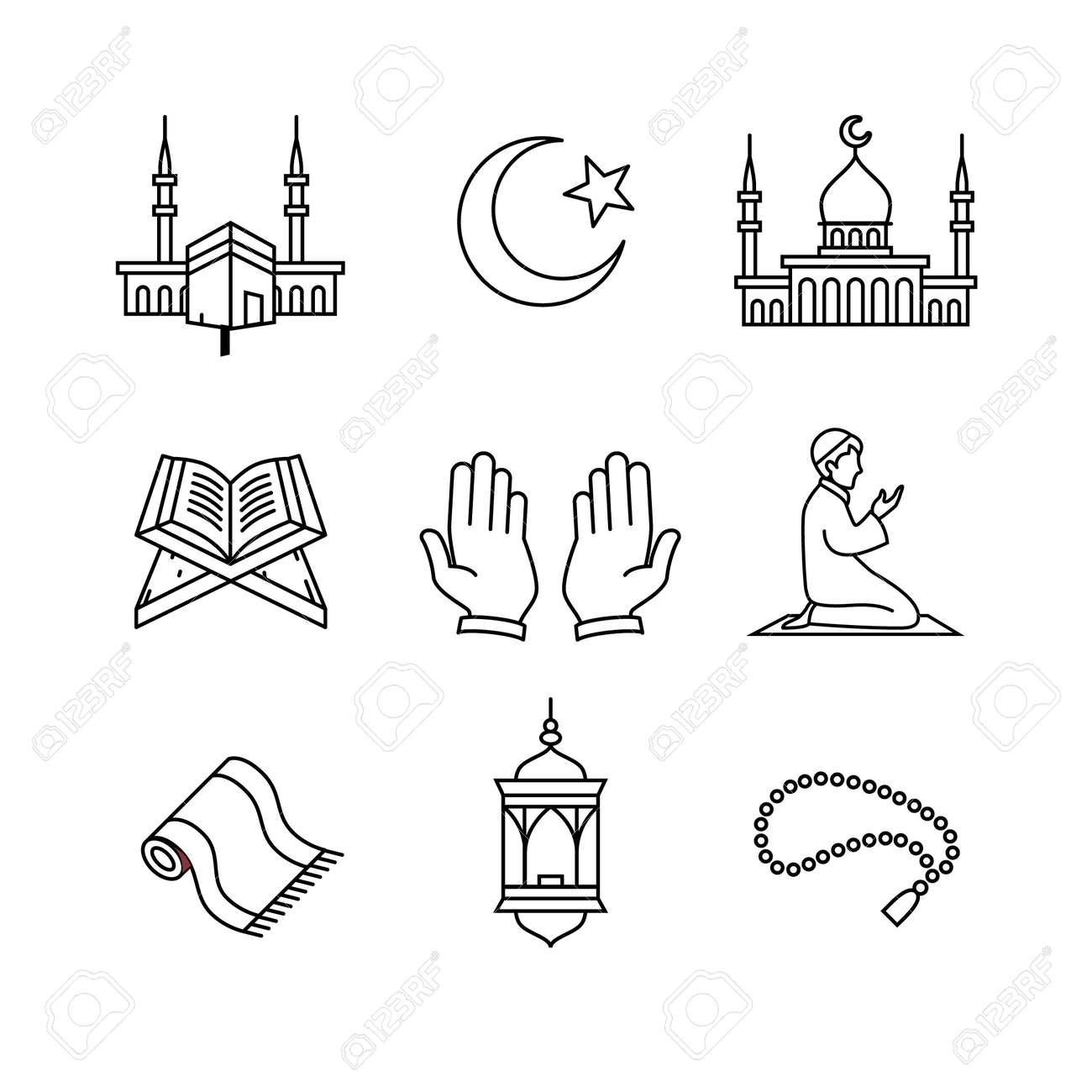Muslim islam prayer and ramadan kareem thin line art icons set. Modern black symbols isolated on white for infographics or web use. - 52937868