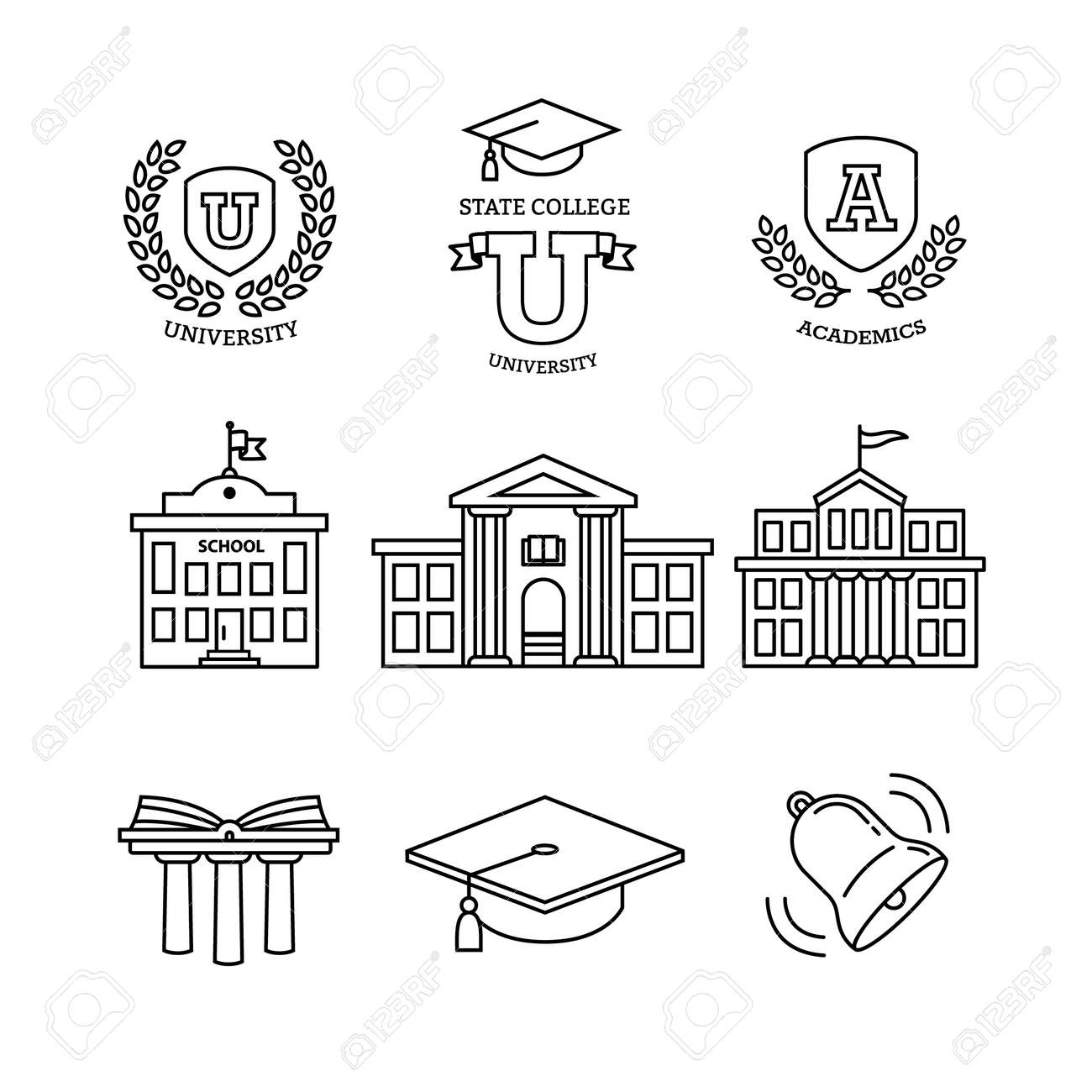 Mortar board, education, school, academy, college and university, library emblems and buildings. Thin line art icons set. Modern black symbols isolated on white for infographics or web use. - 52937870