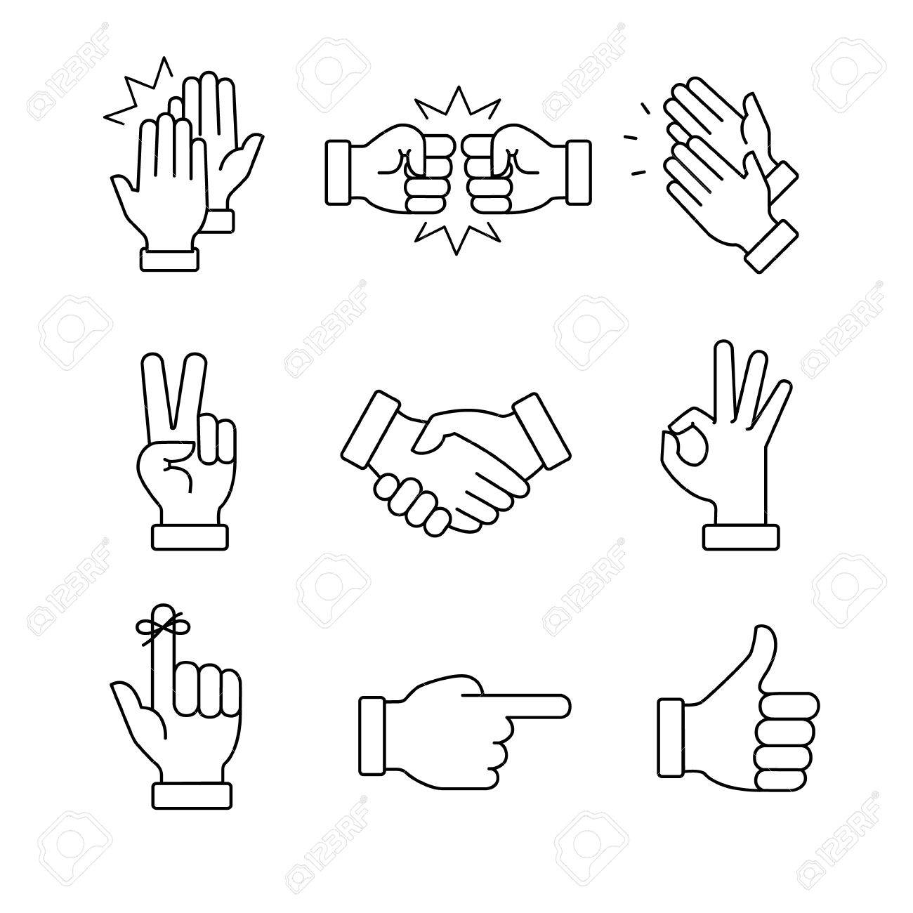 Clapping hands and other gestures. Thin line art icons set.Black vector symbols isolated on white. - 52947847