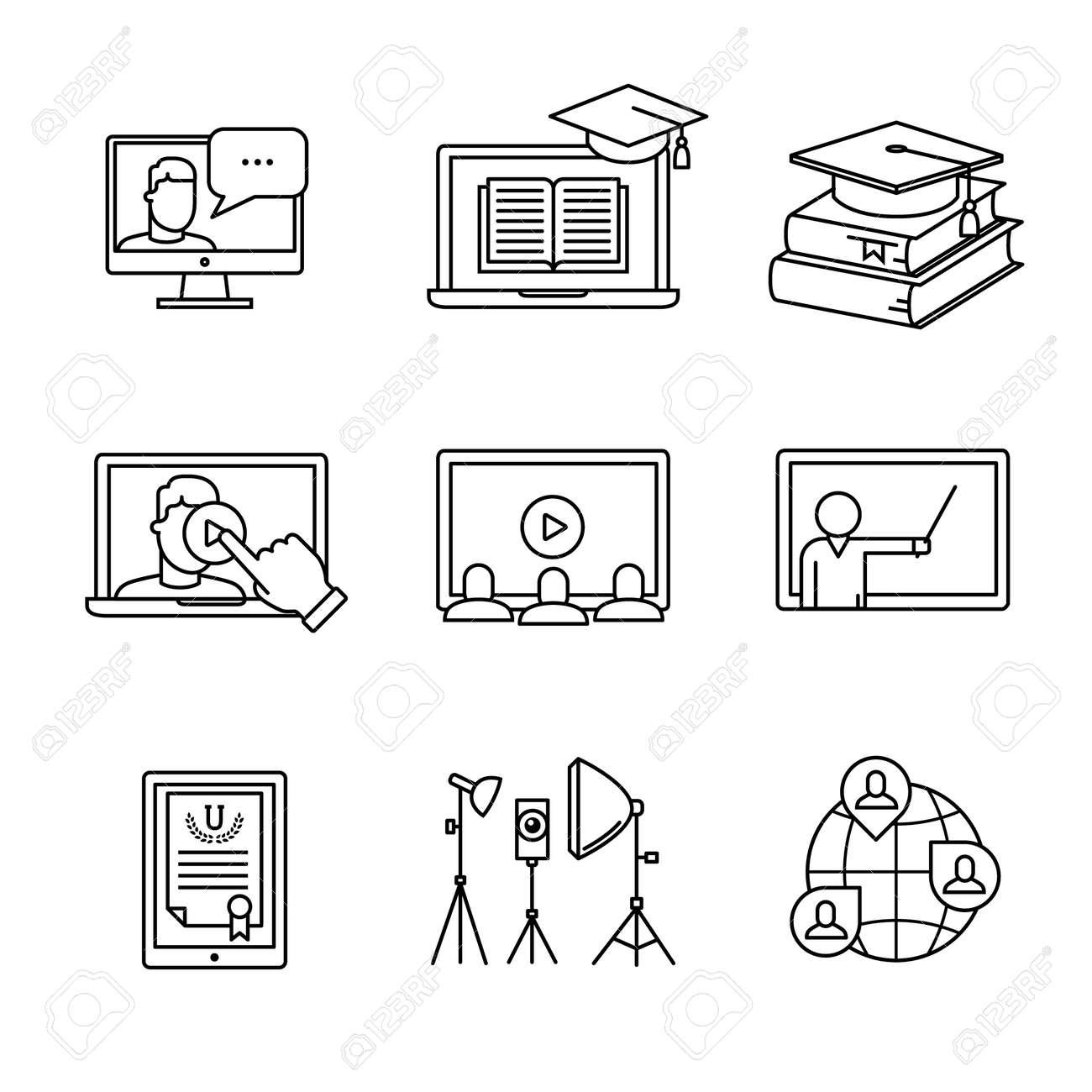 Online seminar icons thin line art set. Webinar education and development. Black vector symbols isolated on white. - 52949113