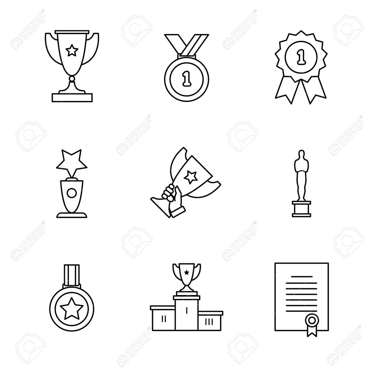 Award winner icons thin line art set. Black vector symbols isolated on white. - 52949117
