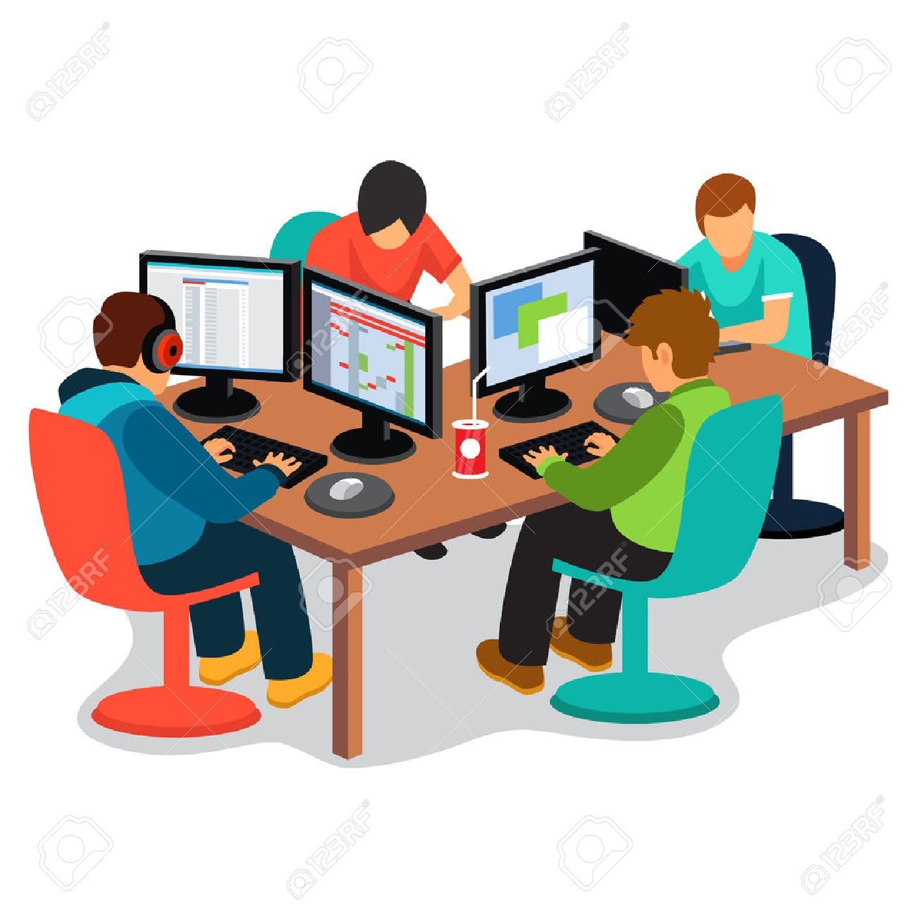 IT company at work. Group of software developers people coding together sitting in front of their pc screens at the desk. Flat style vector illustration isolated on white background. Stock Vector - 54217126
