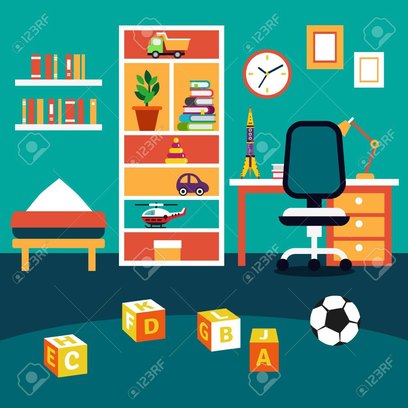 TUdiant de l'école chambre garçon d'enfant intérieur. Bookshelf, étudier bureau avec chaise, lit et des jouets sur le sol. Flat illustration