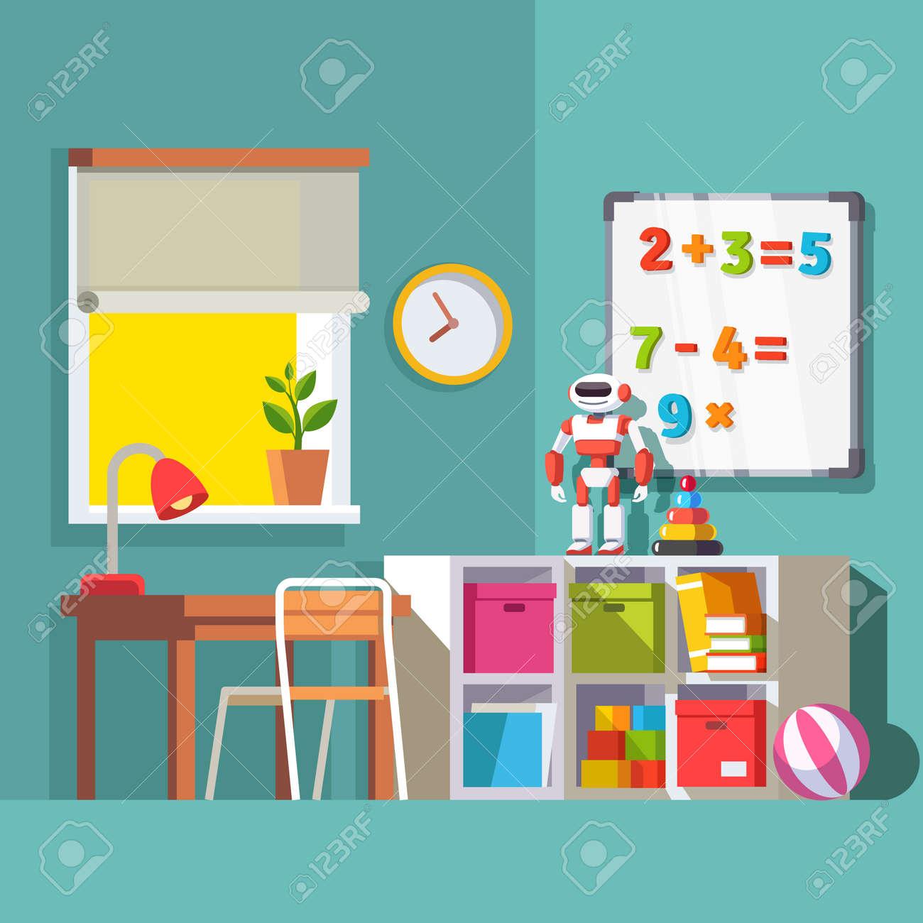 School Window Clipart preschool or school student kid room interior. study desk at