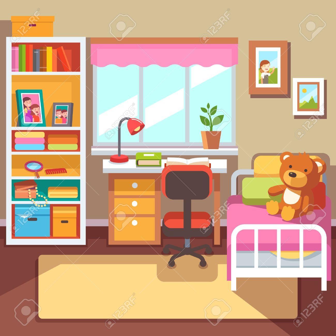 Vorschule Oder Schule Student Mädchen Rauminnenraum. Schreibtisch Am ...
