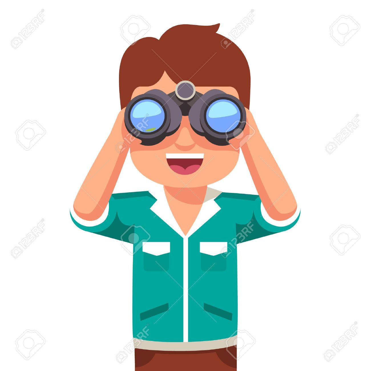 幸せと好奇心が強い男の子子供双眼鏡でみる。フラット スタイル