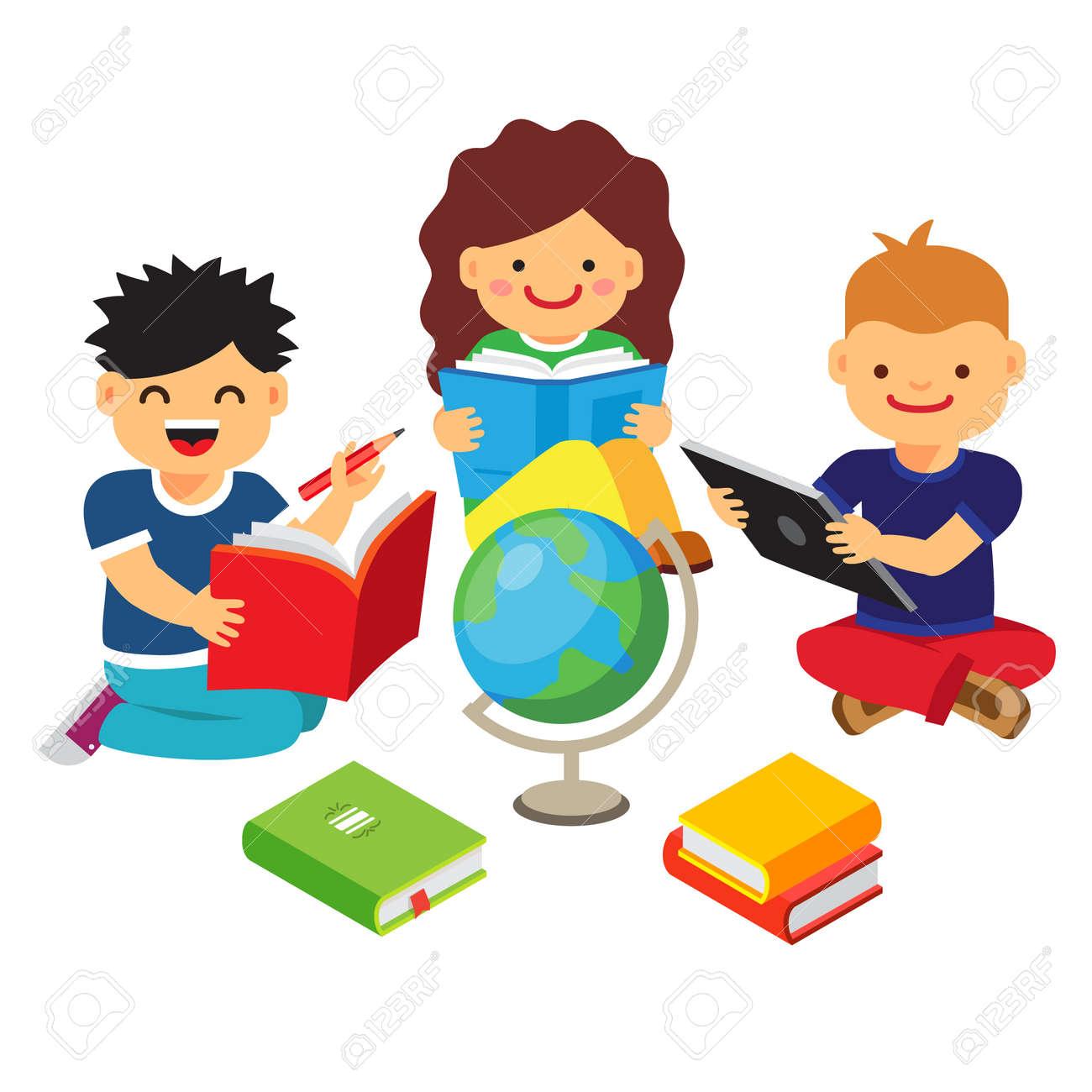 Gruppe Kinder, Studium Und Lernen Zusammen. Jungen Und Mädchen ...