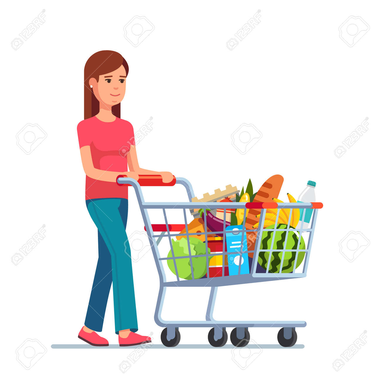 Young woman pushing supermarket shopping cart full of groceries. Flat style vector illustration isolated on white background. Foto de archivo - 54217162