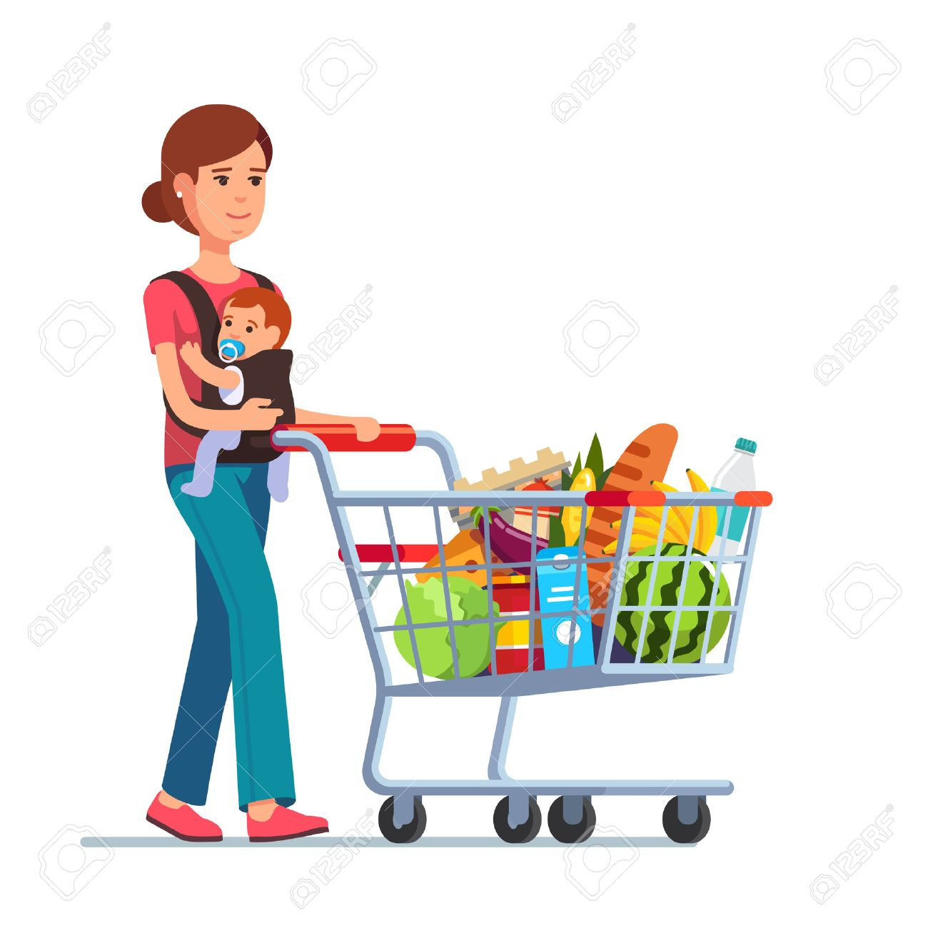 Young mother with son baby toddler in a sling pushing supermarket shopping cart full of groceries. Flat style vector illustration isolated on white background. Foto de archivo - 54217159