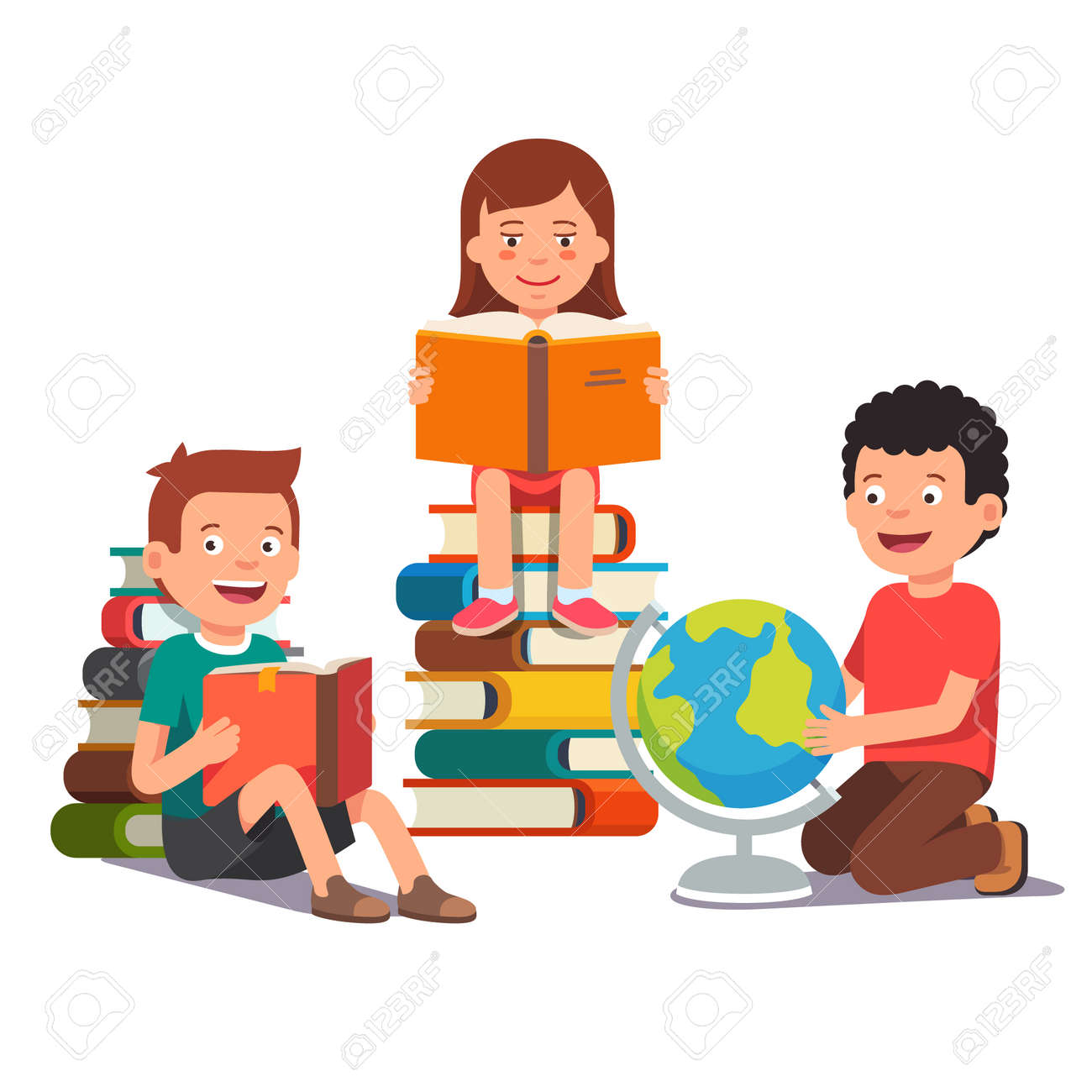 Group of kids studying and learning together. Boys and girl reading books and doing homework. Flat style vector illustration isolated on white background. - 54217161