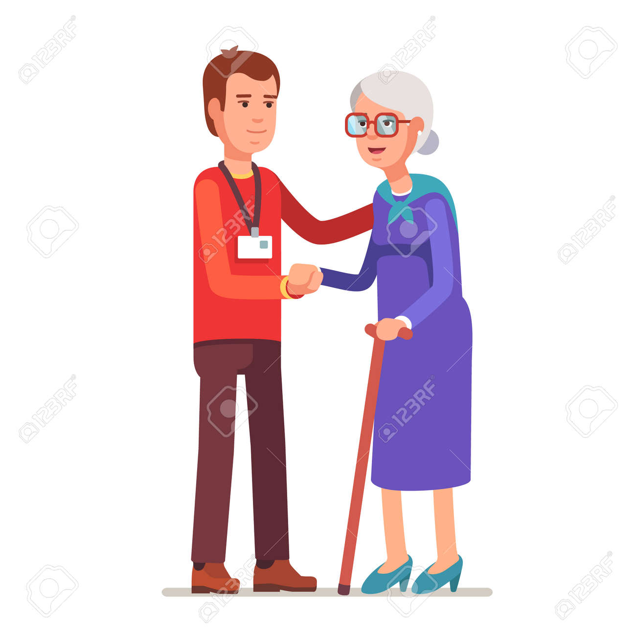 Young man with badge helping an old lady. Elder people care and nursing. Flat style vector illustration isolated on white background. - 54217171