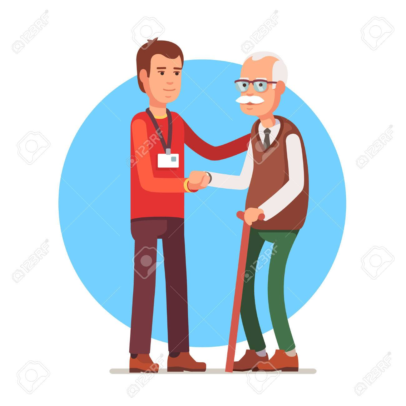 Young man social worker helping elder grey haired man standing with a cane. Flat style vector illustration isolated on white background. - 54217195