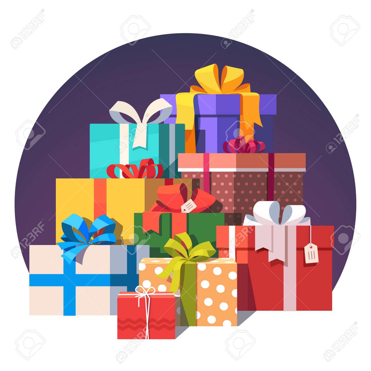 Großer Stapel Von Bunten Gewickelt Geschenk-Boxen. Viele Geschenke ...