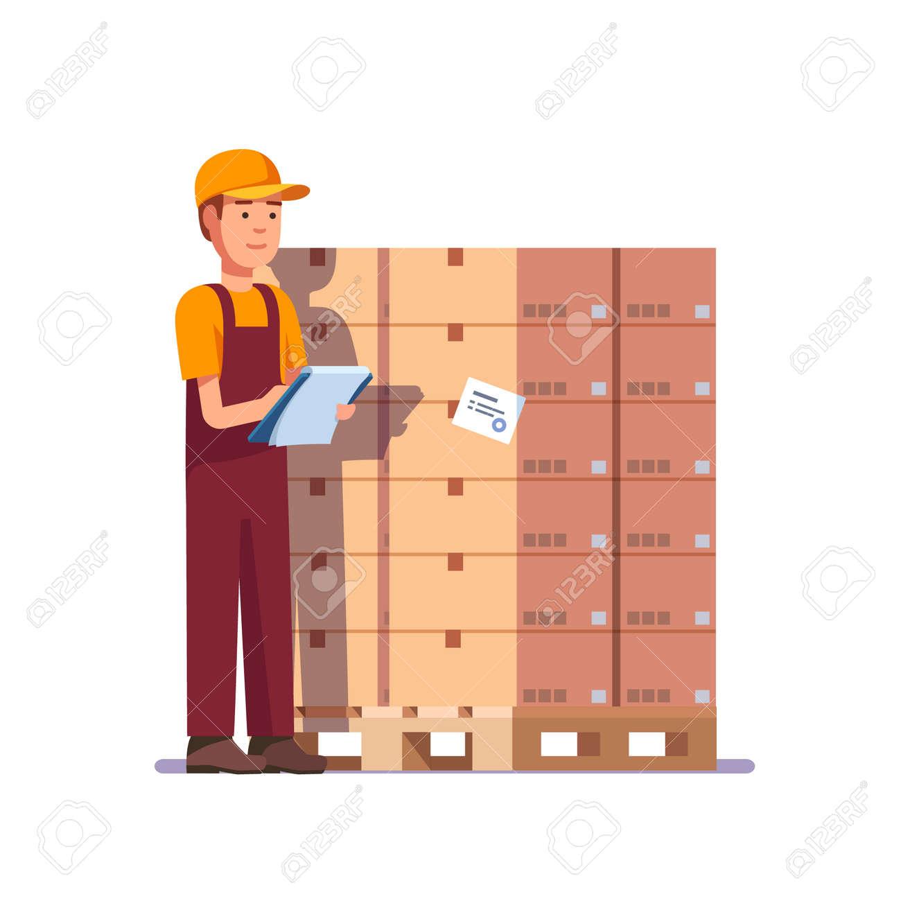 倉庫の労働者パレットの商品をチェックします。ストック撮影の仕事