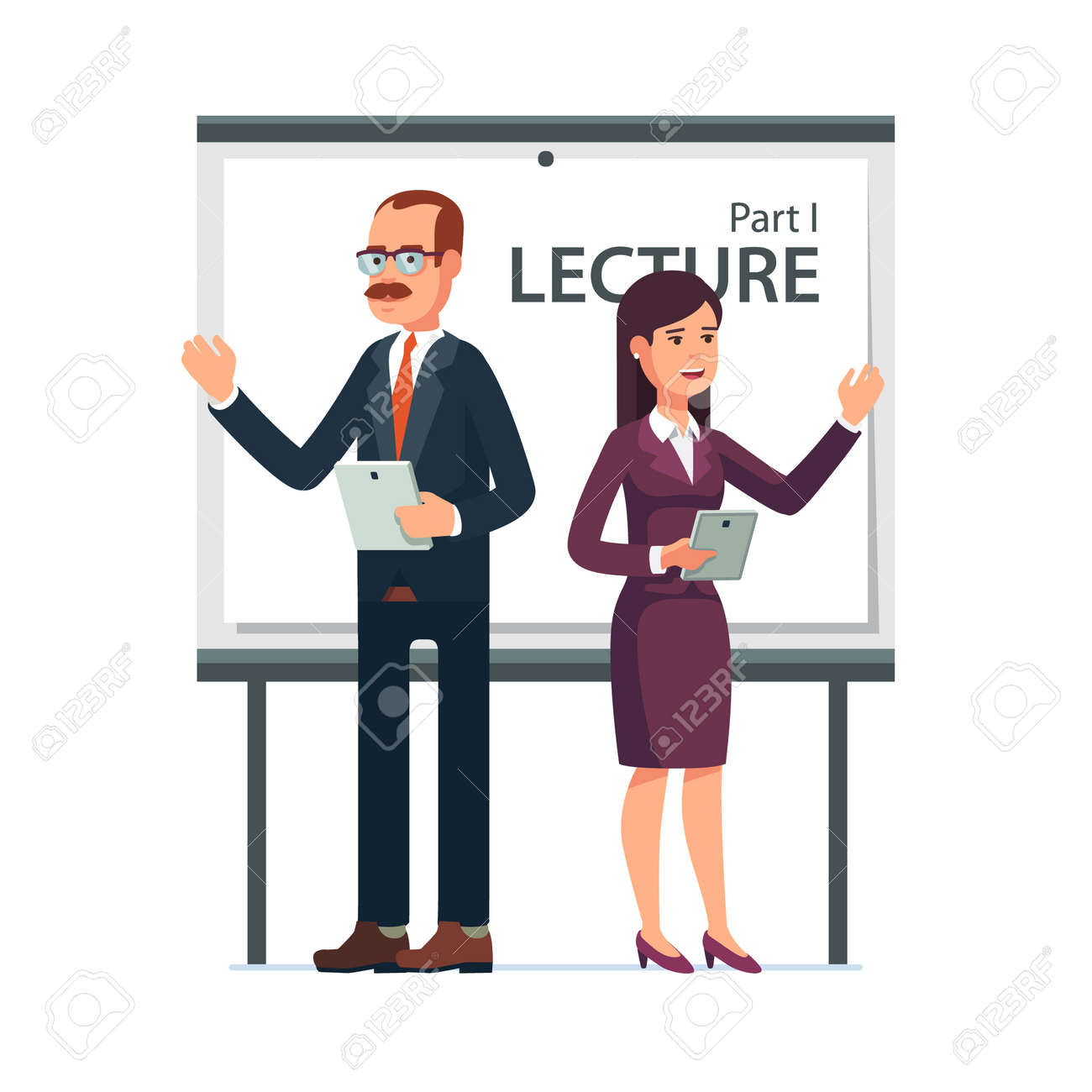 modern business teachers giving a lecture or presentation standing