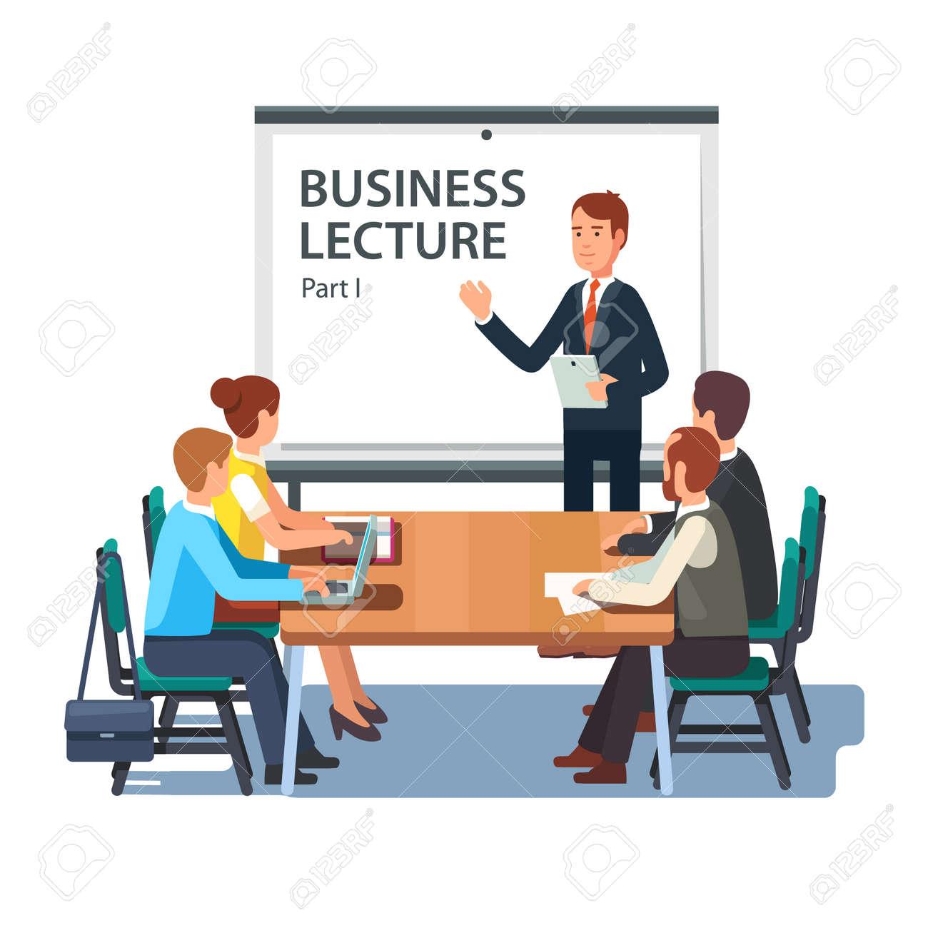 Moderne Business Lehrer Zu Einer Gruppe Von Mitarbeitern Vortrag