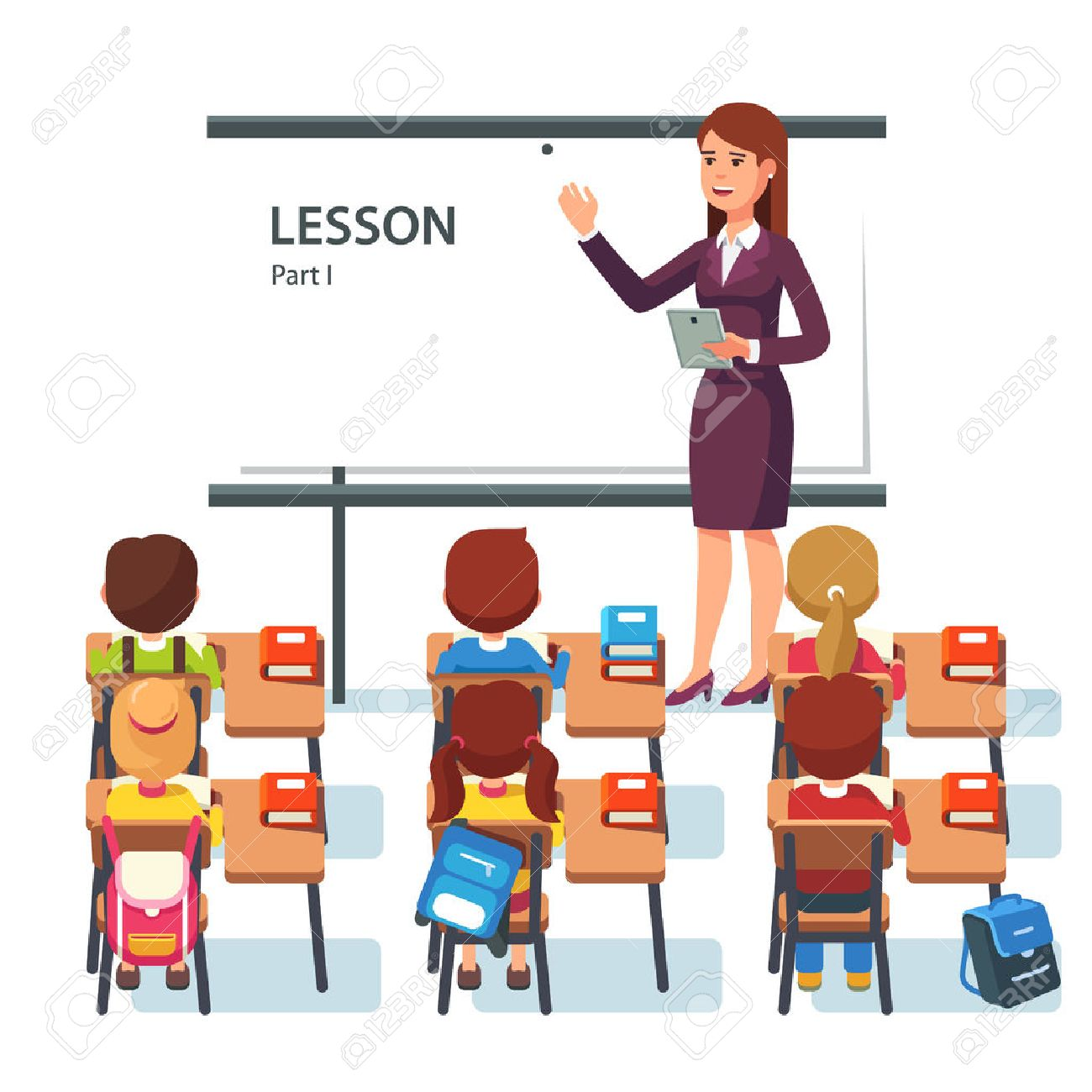 Modern school lesson. Little students and teacher. Classroom with whiteboard, pupils tables and chairs. Modern flat style vector illustration isolated on white background. - 55251108