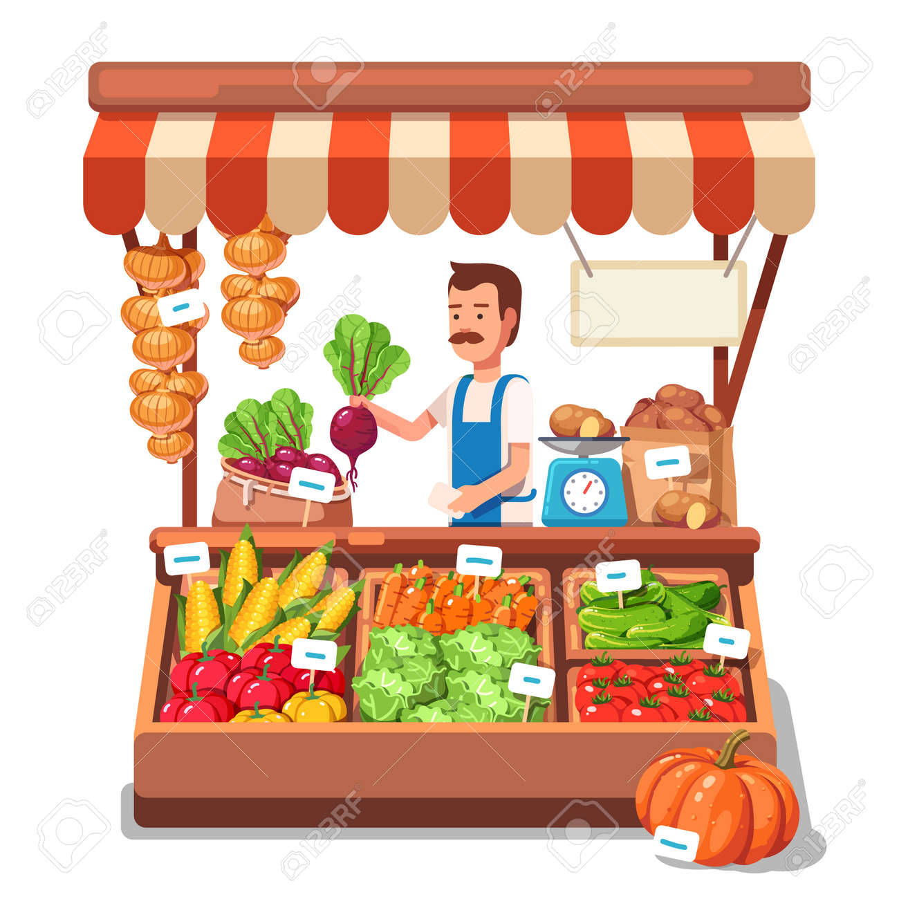 Local market farmer selling vegetables produce on his stall with awning. Modern flat style realistic vector illustration isolated on white background. - 55251109